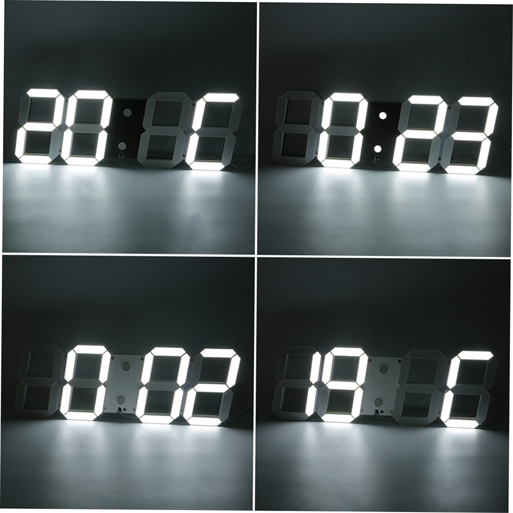 grand 3d moderne num rique horloge murale led 24 12 hour alarm display timer accueil achat. Black Bedroom Furniture Sets. Home Design Ideas