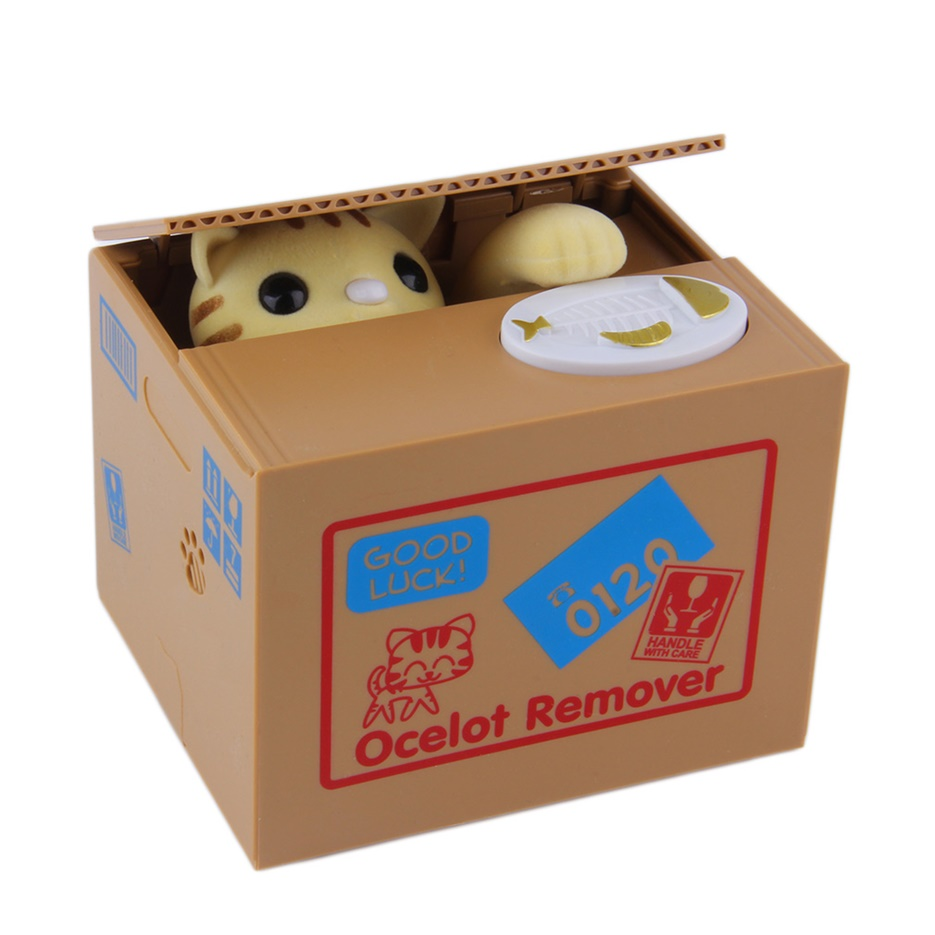 Piggy bank cat steal money coin saving box pot case battery operated gift j ebay - Coin stealing cat piggy bank ...