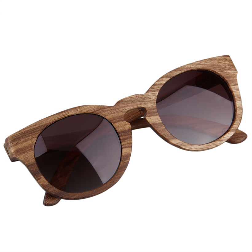 new vintage polarized sunglasses full wooden round frame