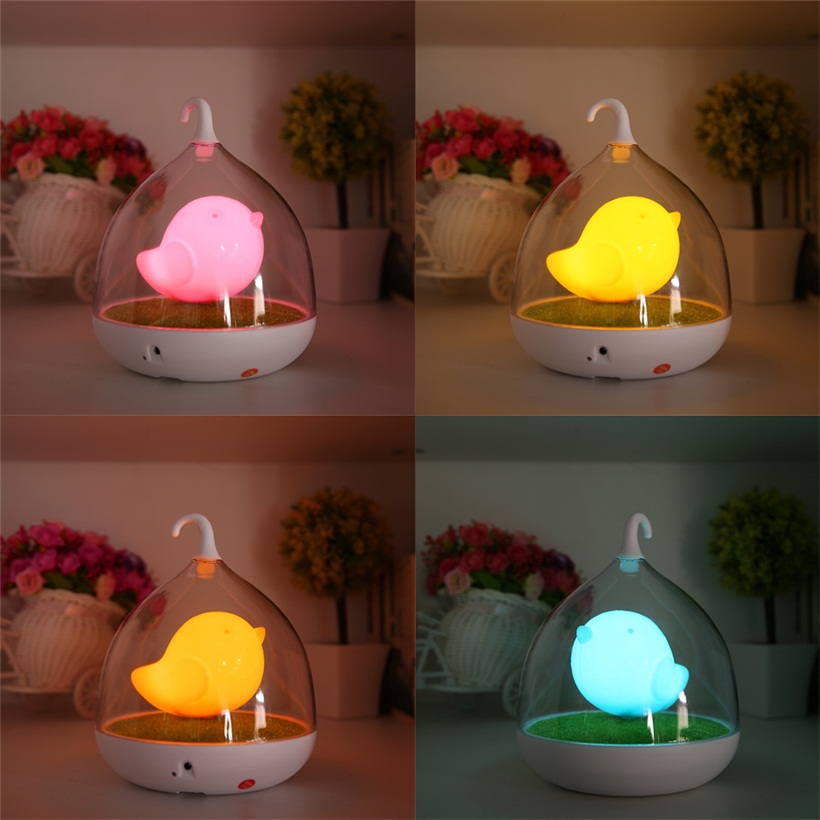 Cute LED Night Lamp Kids Bedroom Table Lights Birdcage