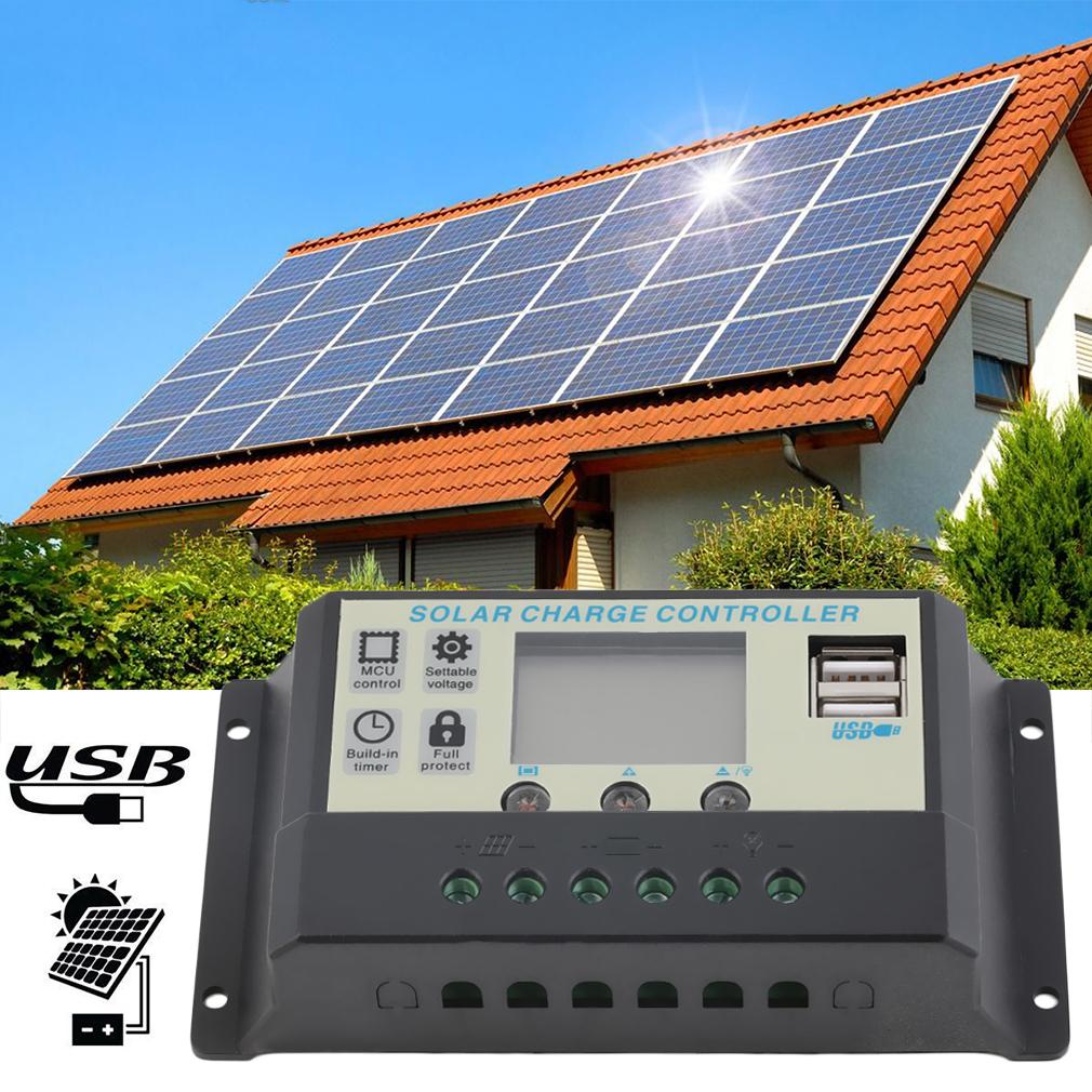 2x 10a 12v 24v solar panels battery charge controller. Black Bedroom Furniture Sets. Home Design Ideas