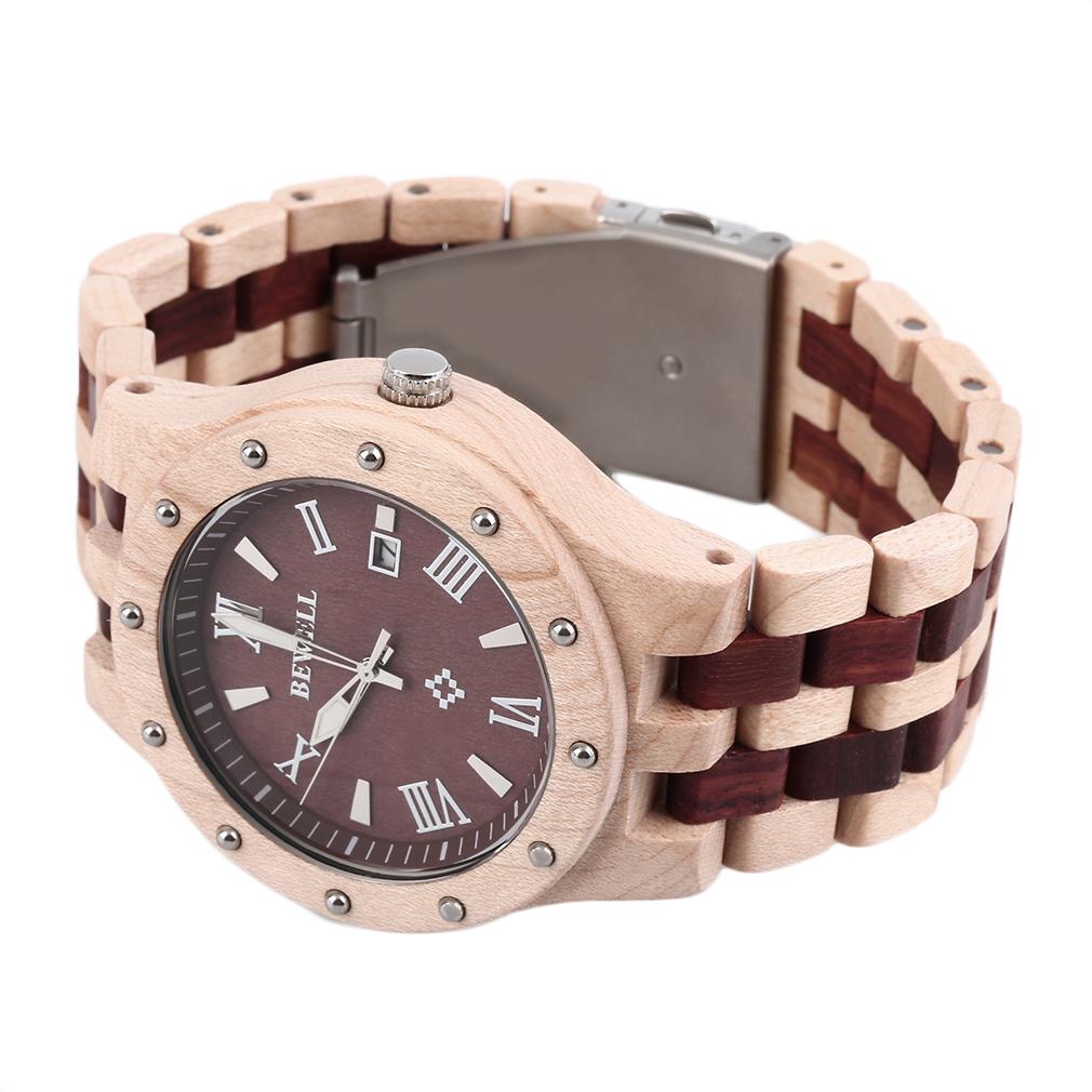 bewell montre de quartz en bois de santal pour homme beige. Black Bedroom Furniture Sets. Home Design Ideas