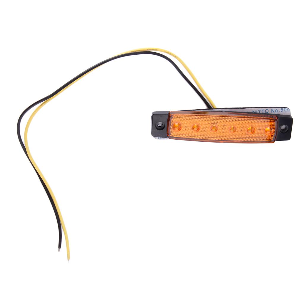 6 led car truck trailer side marker indicators light lamp. Black Bedroom Furniture Sets. Home Design Ideas