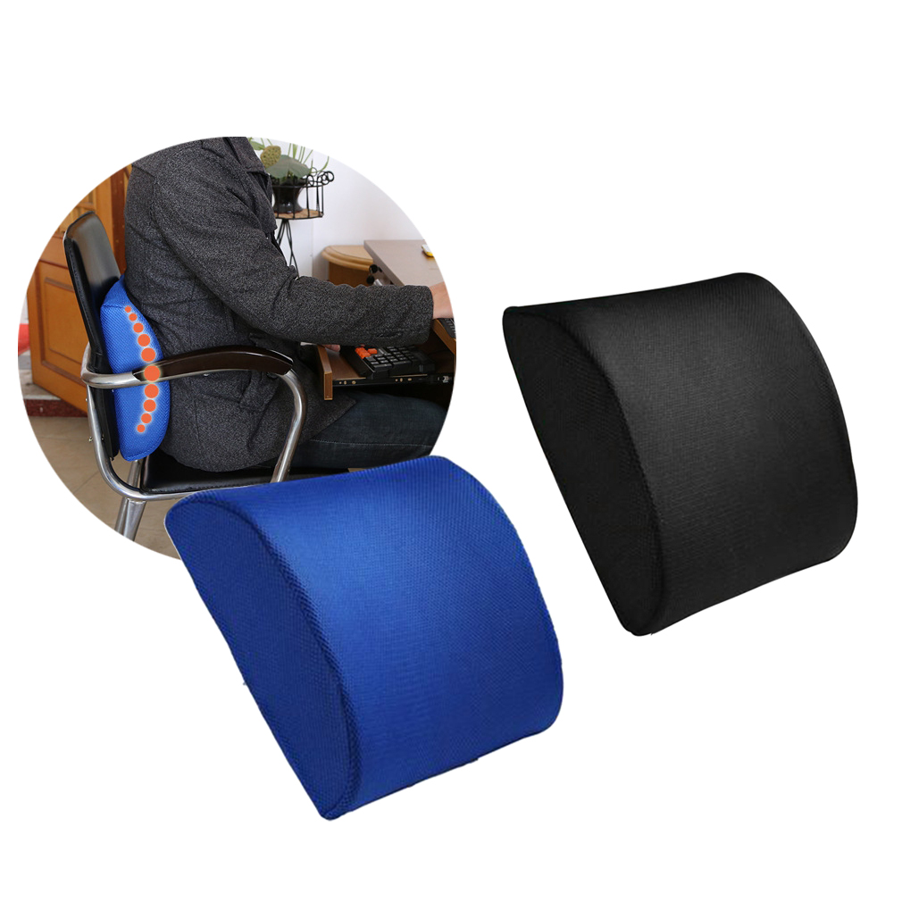 Back support cushion waist pillow memory foam lumbar for Chair pillow
