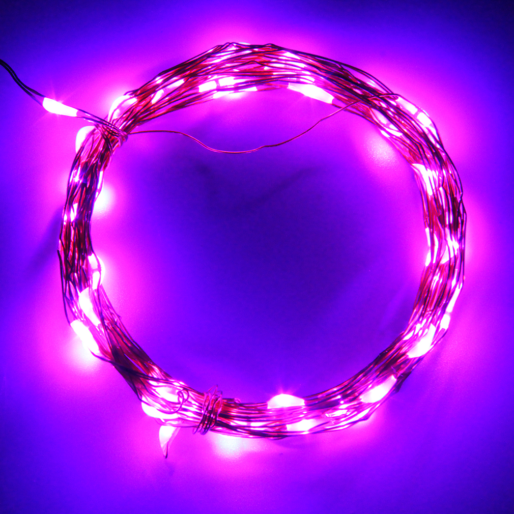 Allwin 5M 50LED String Fairy Light Battery Operated Xmas Lights Party Wedding Decor Purple ...