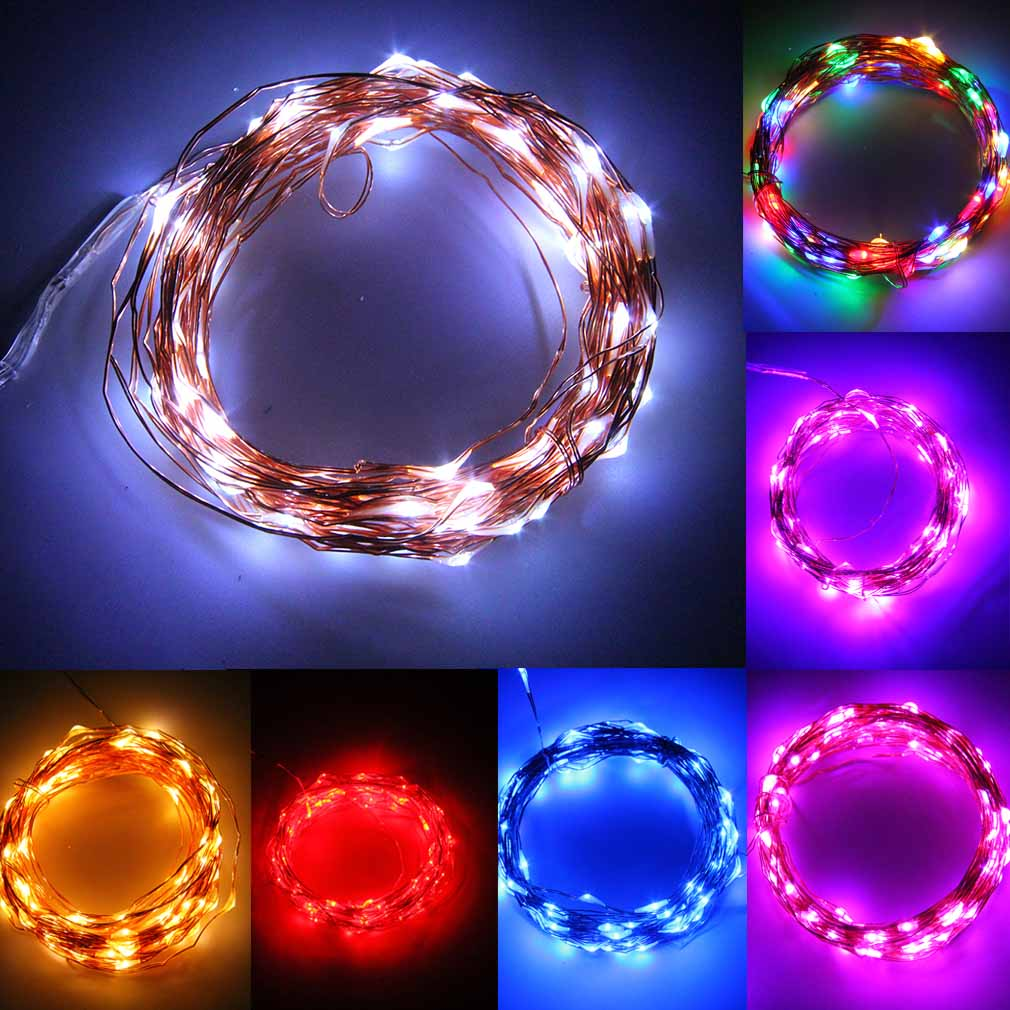 2 5 10m button battery operated led copper wire string. Black Bedroom Furniture Sets. Home Design Ideas