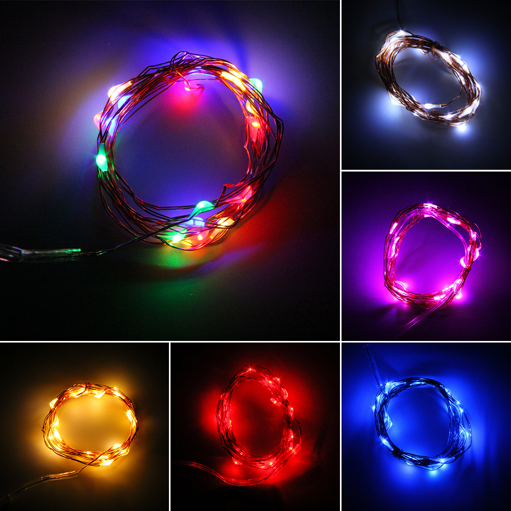 String Lights With Battery: 2/5/10M Button Battery Operated LED Copper Wire String