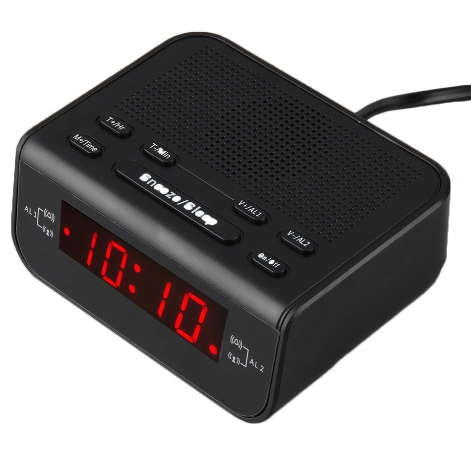 digital fm alarm clock radio with dual alarm sleep timer led red time display eh ebay. Black Bedroom Furniture Sets. Home Design Ideas