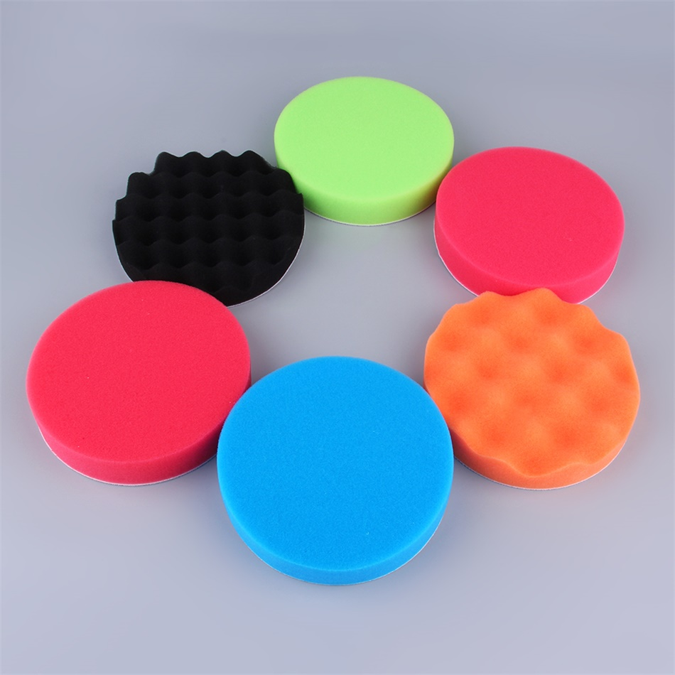 6pcs car polisher waffle flat polishing buffer pad foam pad buffing pad kit zm