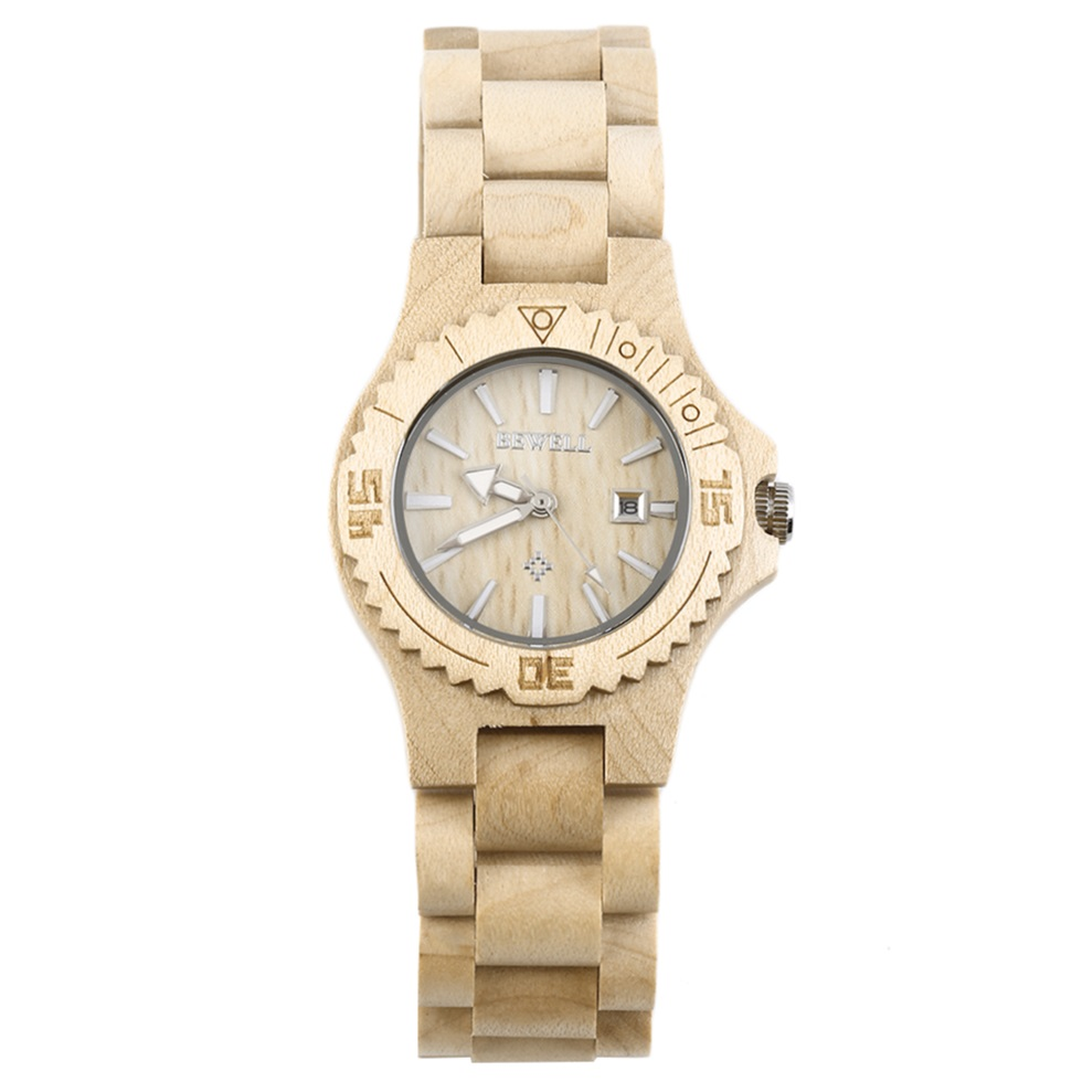bewell w020a s wooden quartz wood analog date
