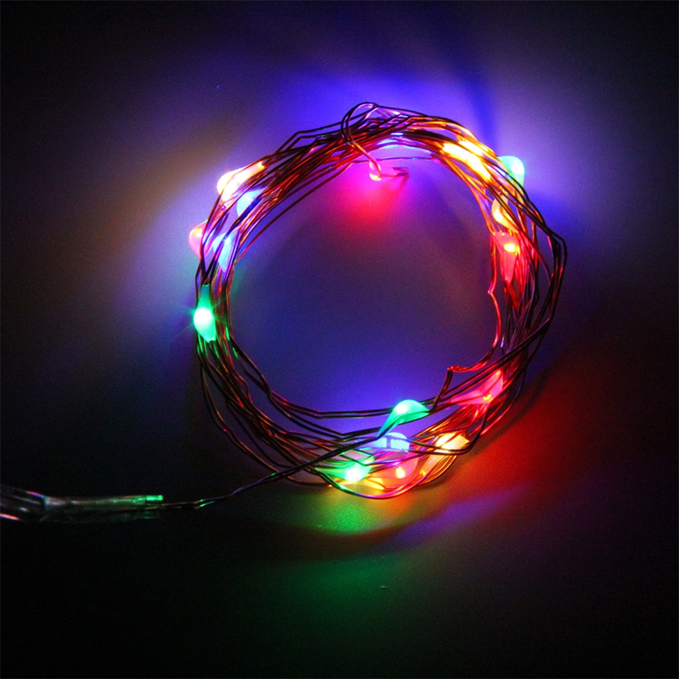 String Lights With Battery: 2M 20 LEDs Button Battery Operated LED Copper Wire String
