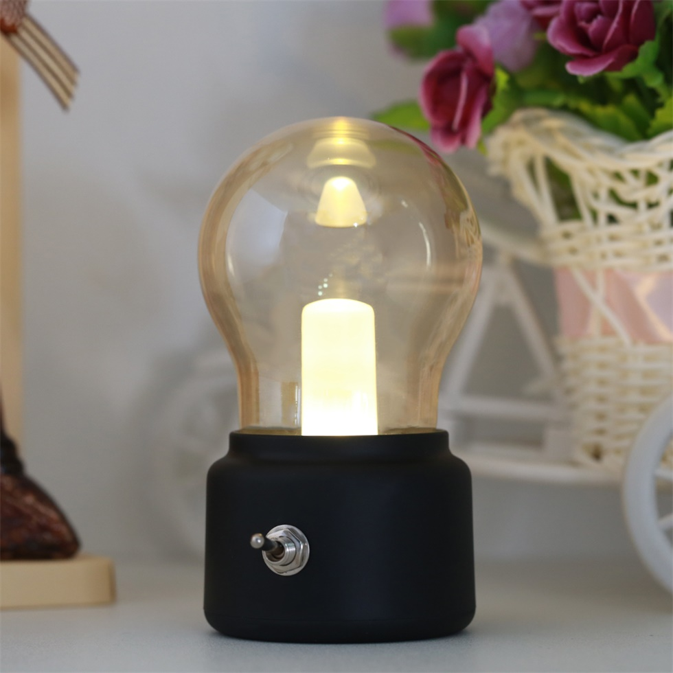 metal lever switch bulb lamp rechargeable battery night. Black Bedroom Furniture Sets. Home Design Ideas