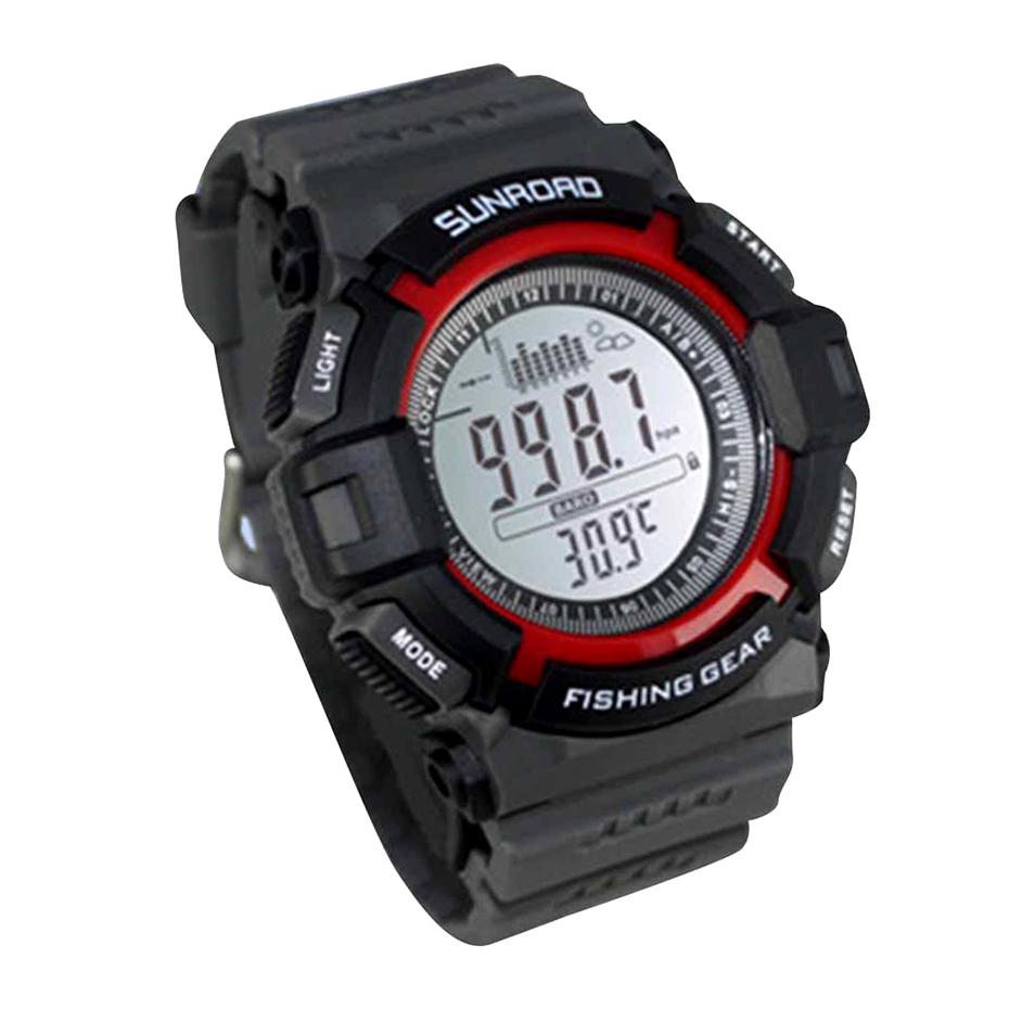 Digital fishing barometer watch altimeter thermometer for Barometric pressure forecast for fishing