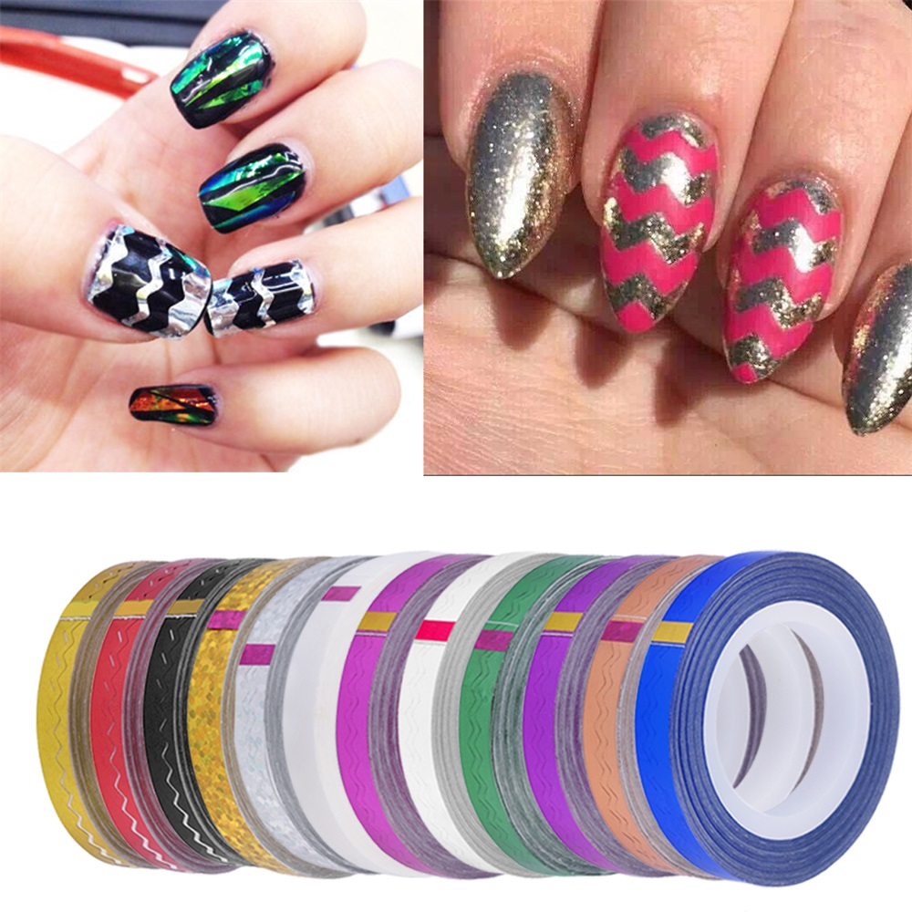 One Line Nail Art : Roll nail stickers diy waves striping tape line art