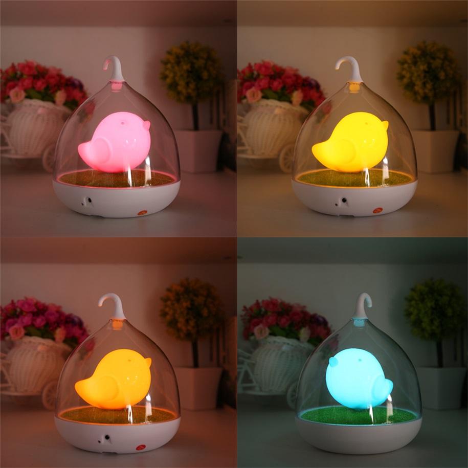 Home LED Night Lamp Kids Bedroom Table Lights Birdcage Touch - Touch lights for bedroom