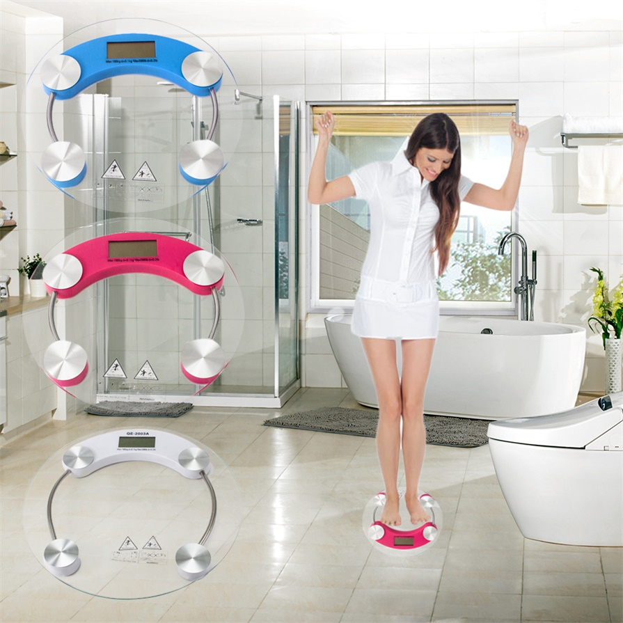 180kg Glass LCD Electronic Digital Body Weight Bathroom