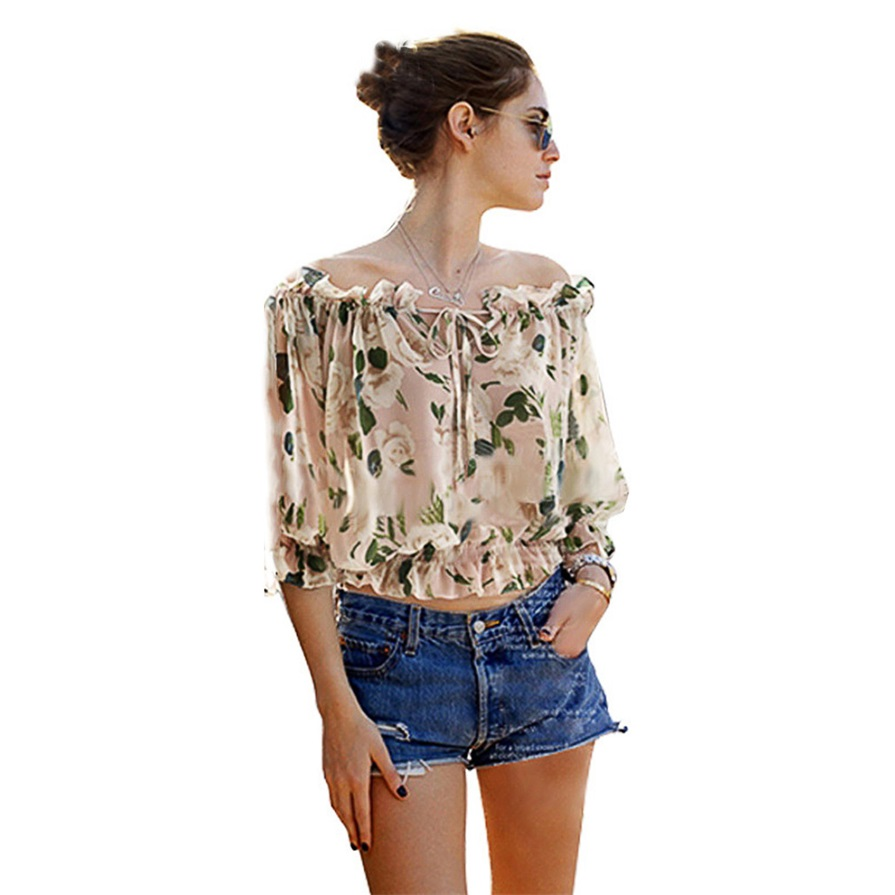 New Fashion Women's Off Shoulder Casual Tops Blouse Floral Chiffon ...